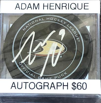 Adam Henrique Ducks signed Puck Beckett certified