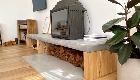 9. Concrete Fire Hearth Timber Legs Cheminees Philippe - Torquay