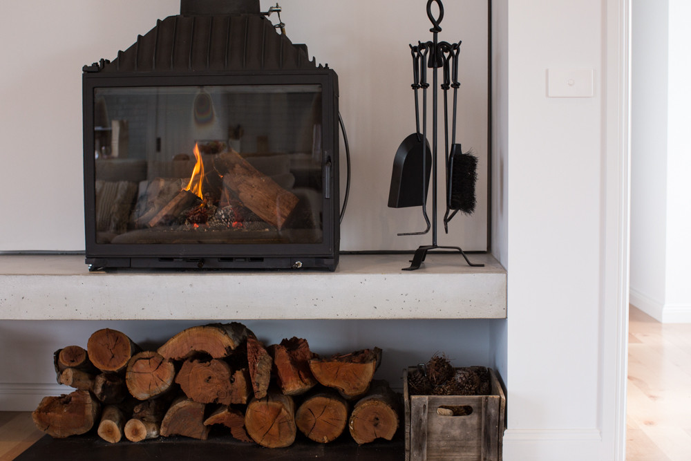 Concrete Floating Fire Hearth with Wood Storage
