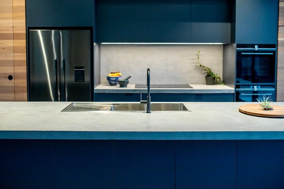 Concrete Kitchen Benchtop and Concrete Splashback
