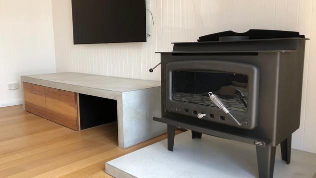 Form Concrete Artisans - Concrete Fireplace Slab and Entertainment Unit - Lorne