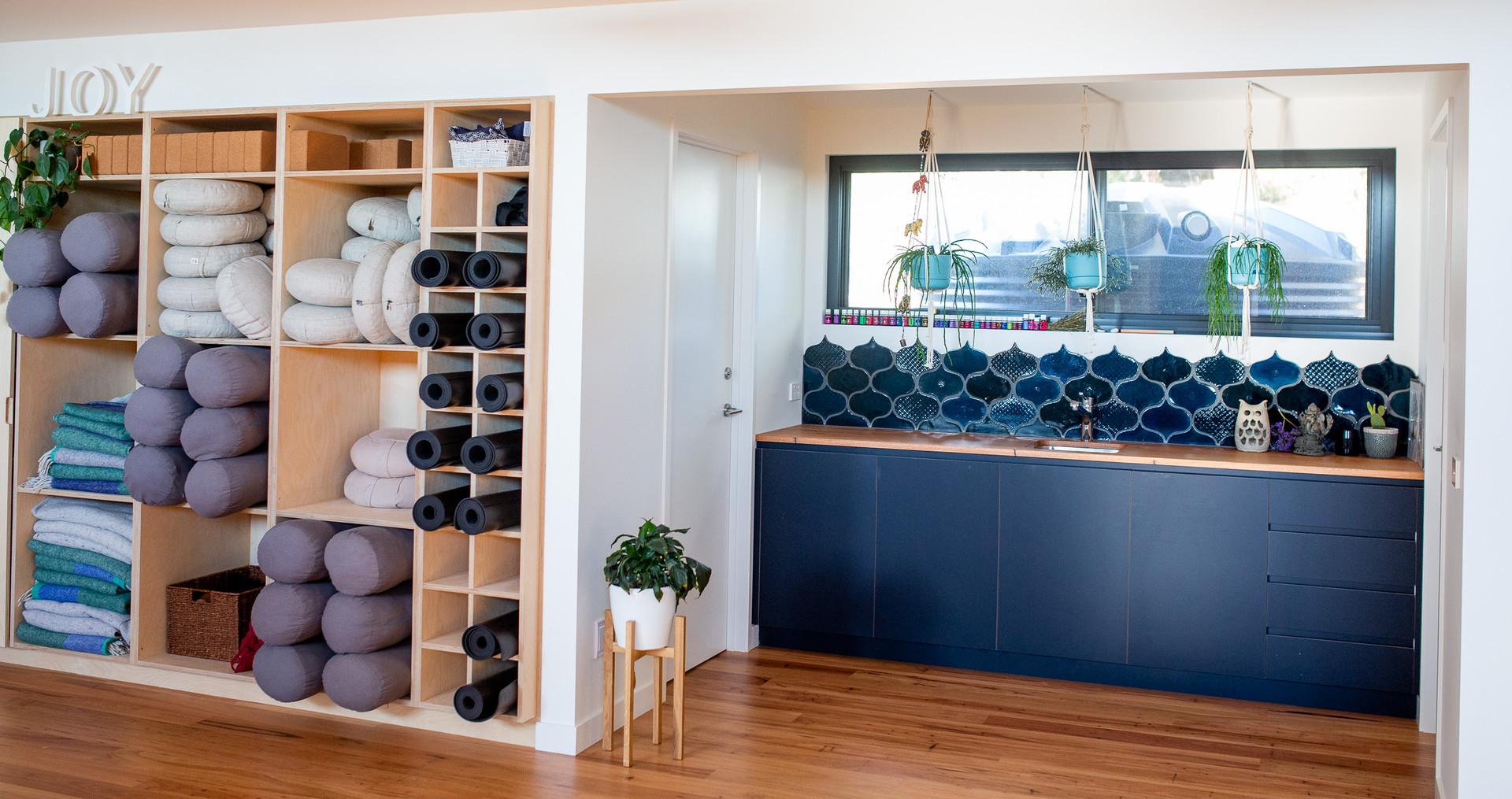Timber Benchtop in Yoga Studio
