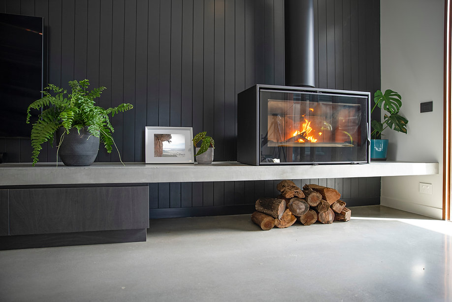 Floating Concrete Fireplace Axis 1000 One Sided Freestanding