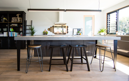 Concrete Island Bench with Floating Cabinetry