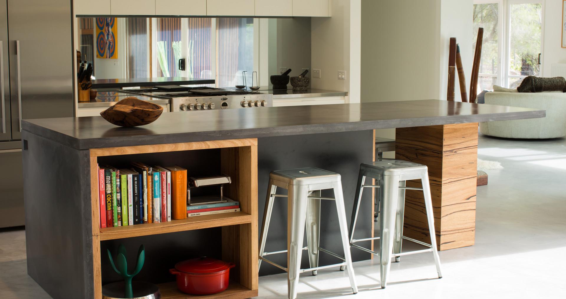 Dark Charcoal Colour Concrete Kitchen Benchtop