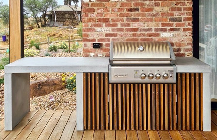 Outdoor Concrete Kitchen with Timber Battens
