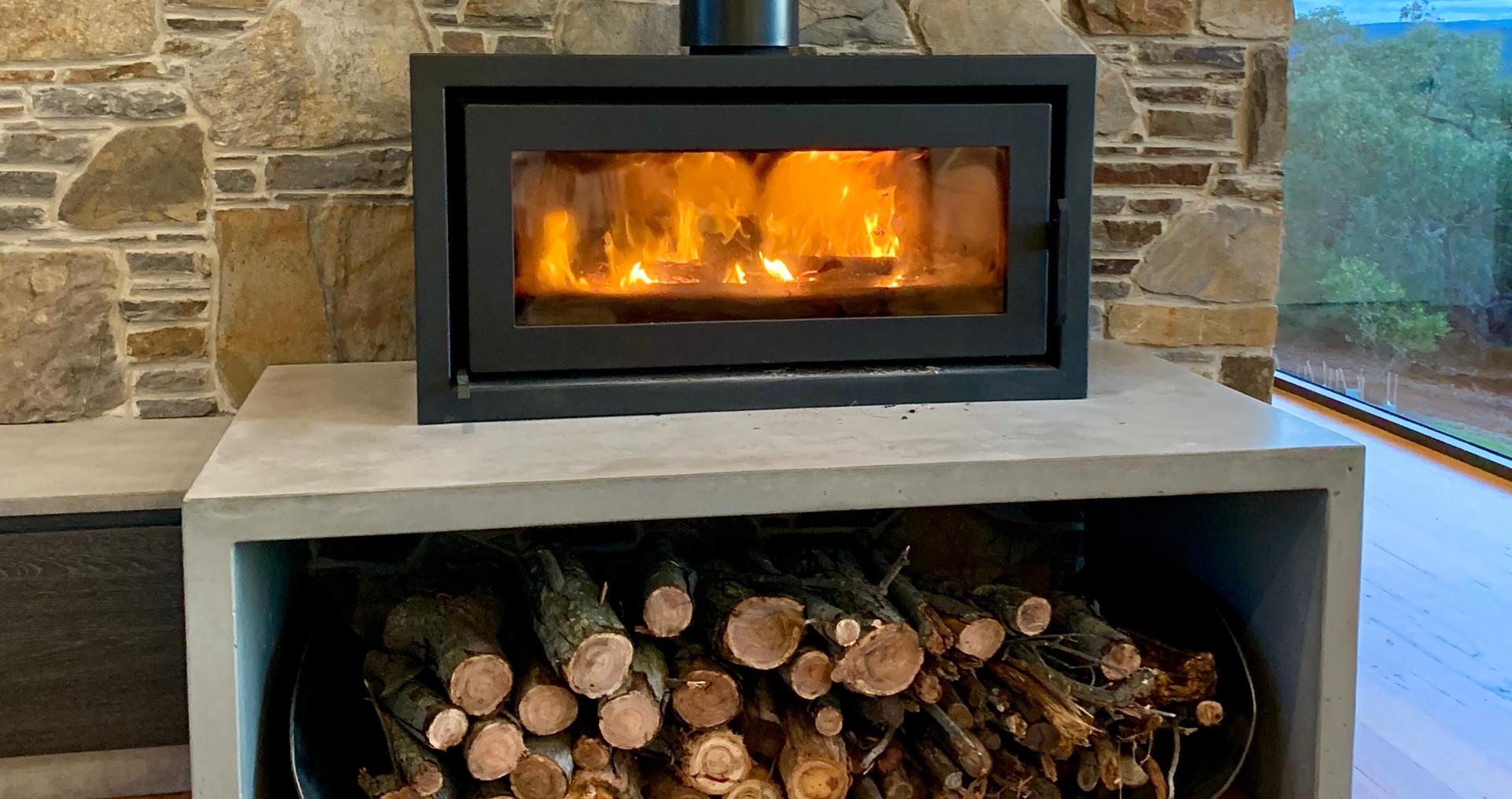 Concrete Fire Hearth U-Shape with Wood Storage
