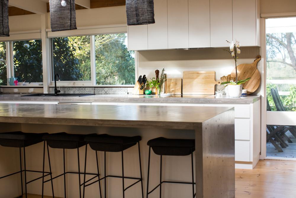 Concrete Kitchen Benchtop with Breakfast Bar