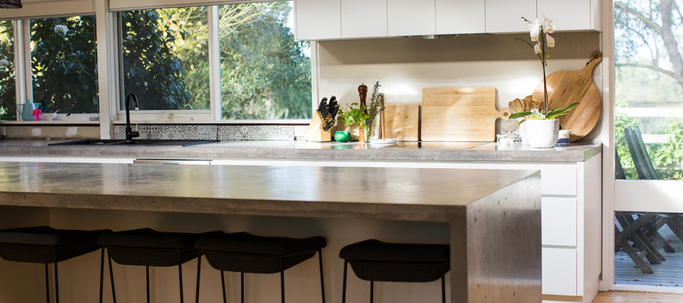 Concrete Kitchen Benchtop with Breakfast Bar