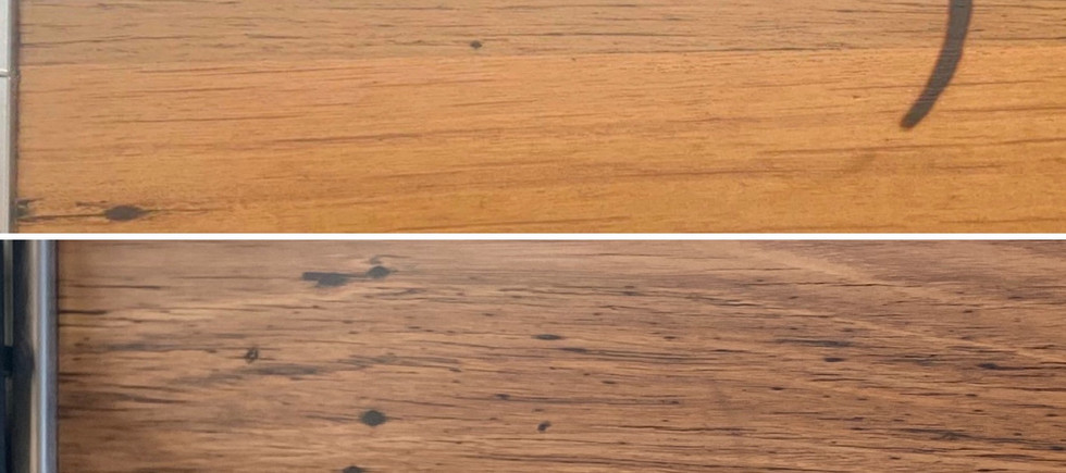 Timber Benchtop Before and After Photo of Burned Mark