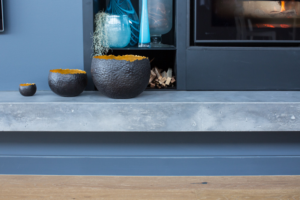Floating Concrete Hearth for Built-in Fireplace