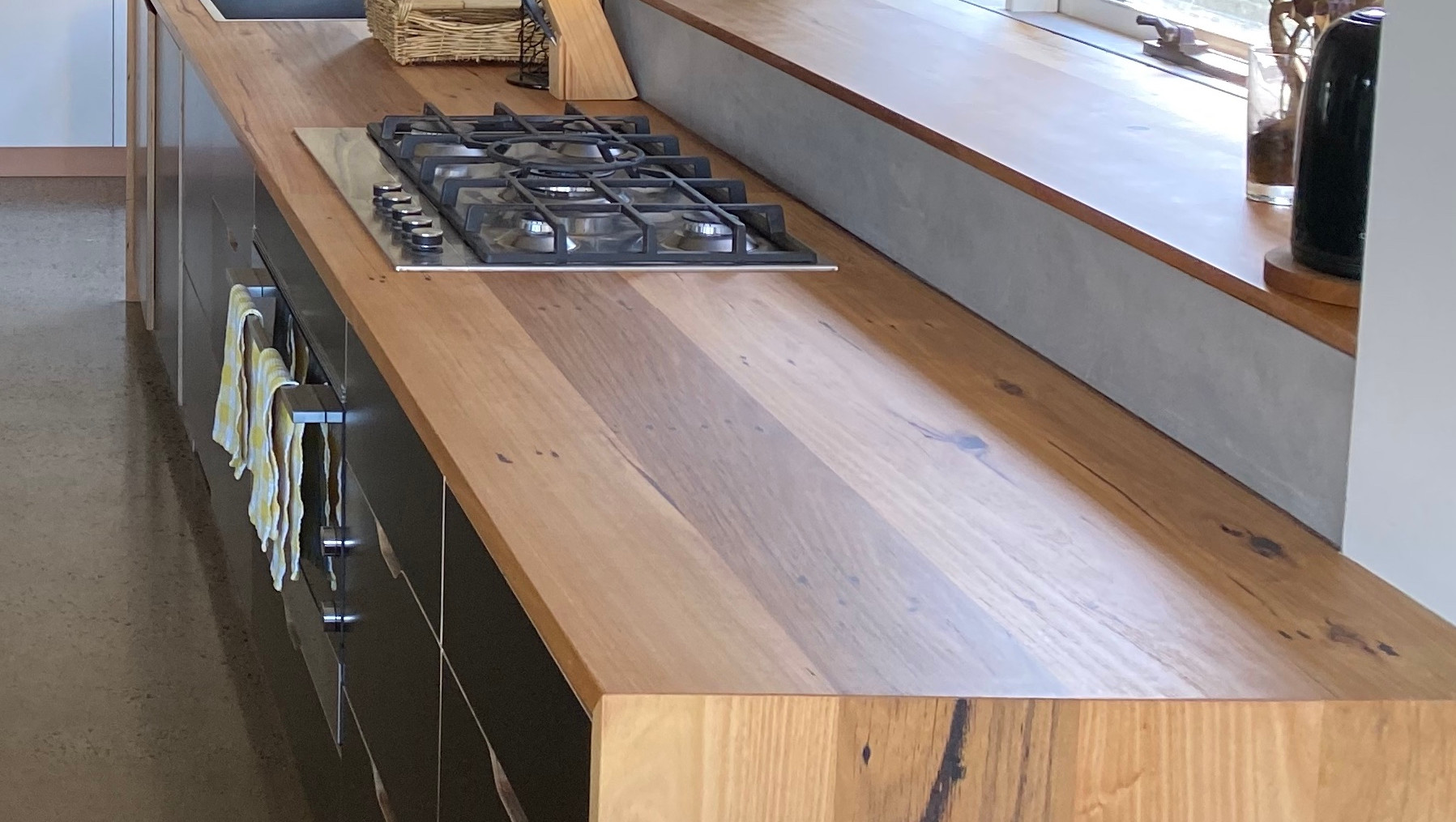 Timber Kitchen Benchtop with Waterfall End
