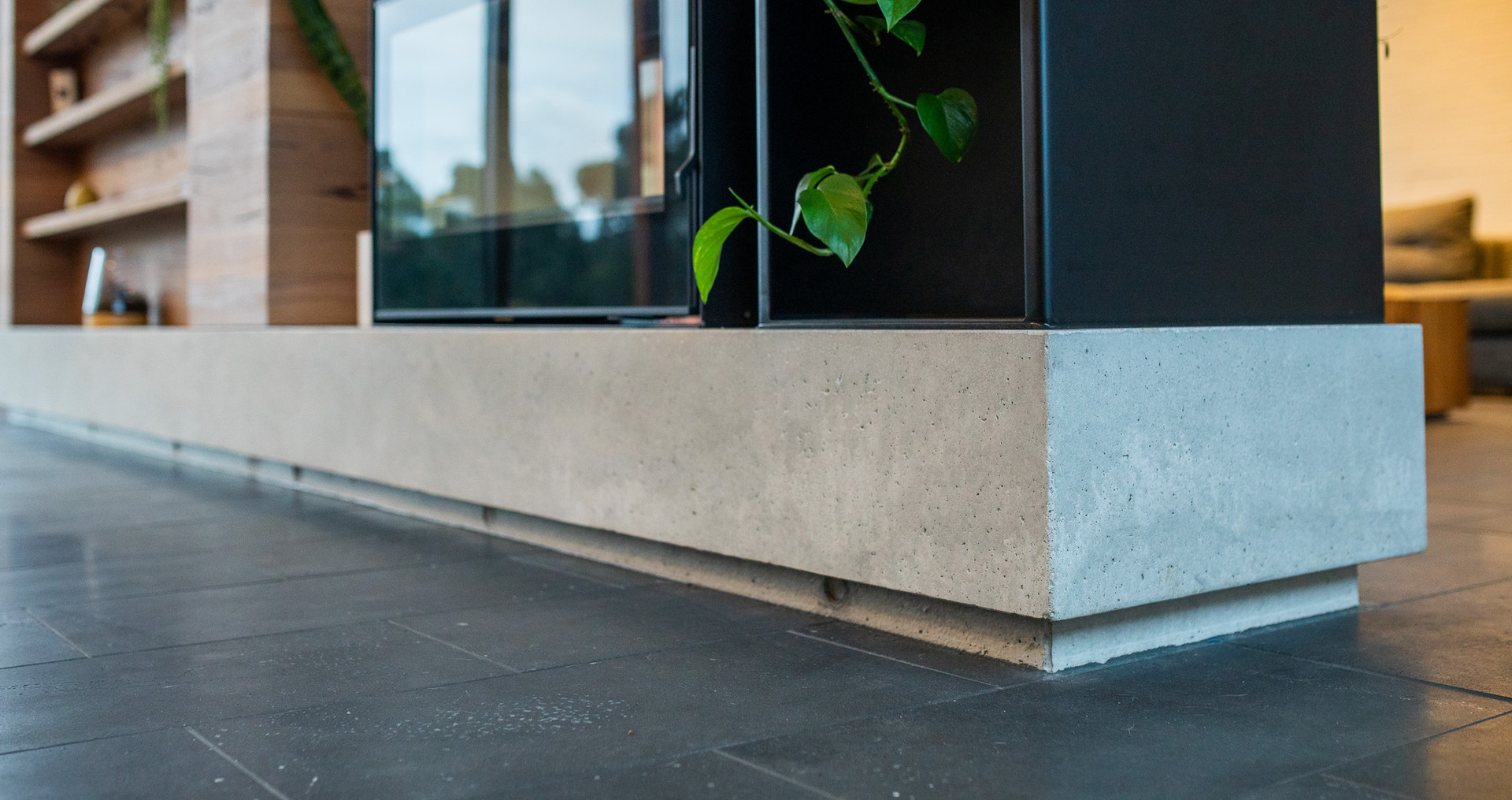 Concrete Fireplace Plinth with Floor Shadowline
