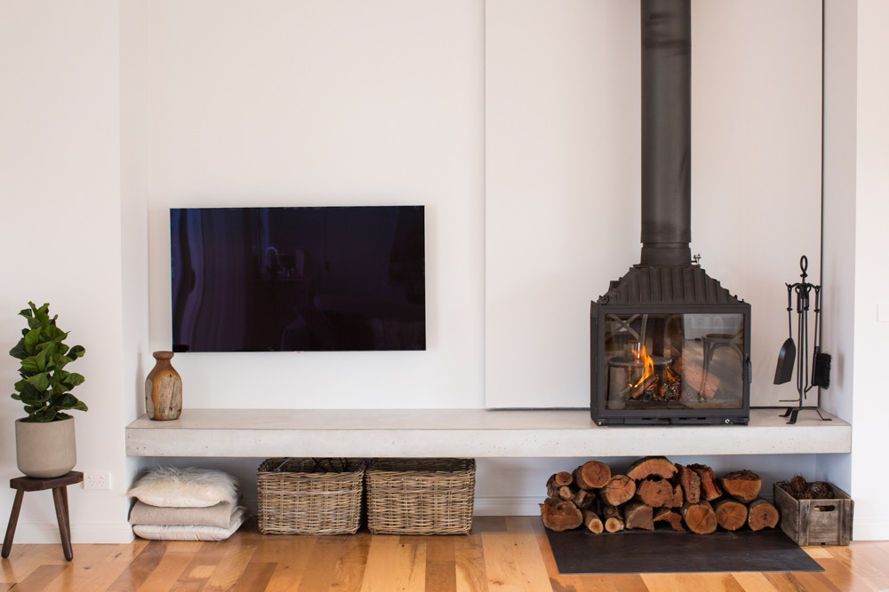 Floating Concrete Fire Hearth with Cheminees Philippe