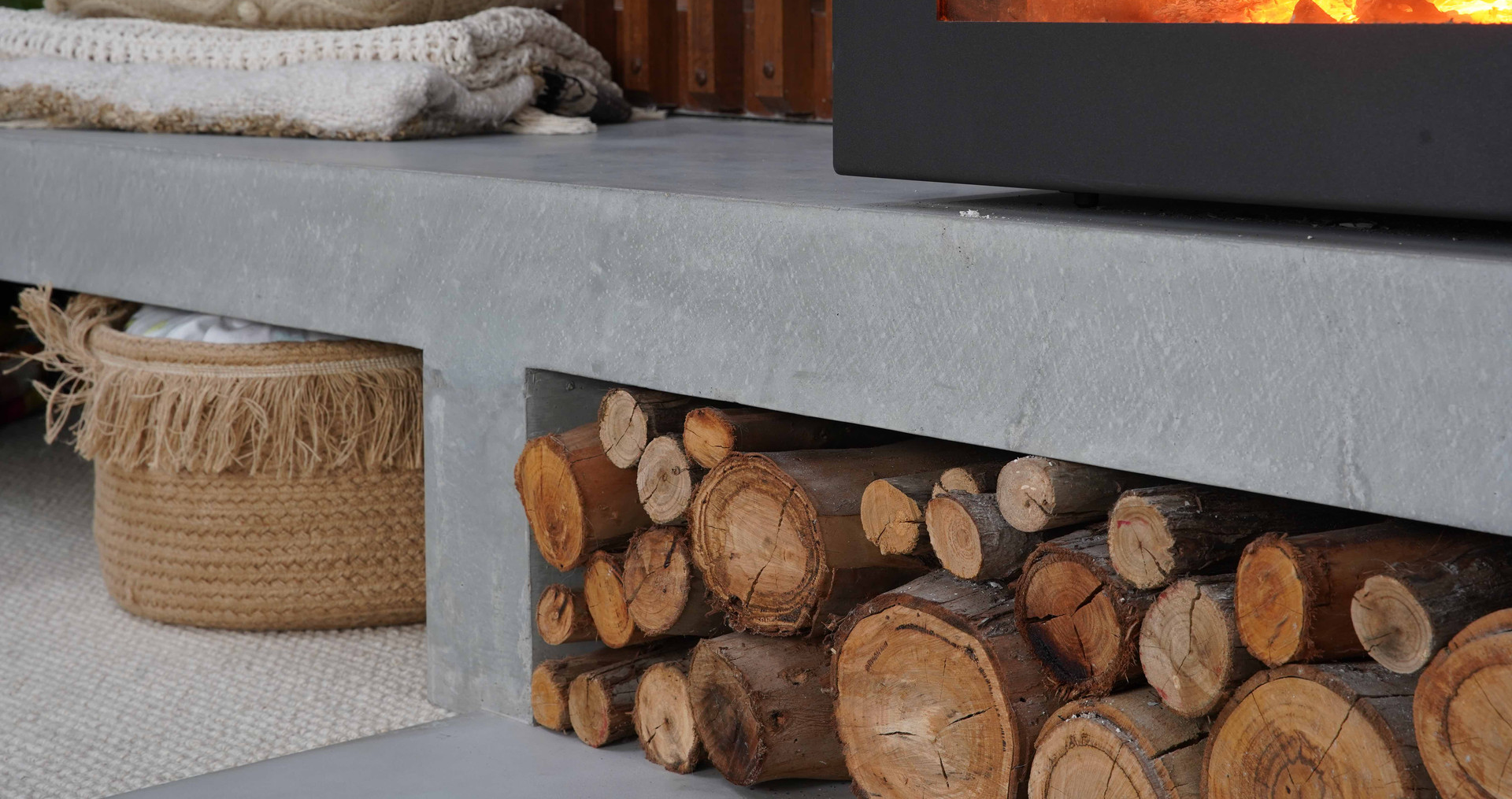 Concrete Hearth with Trowel Top and Edges