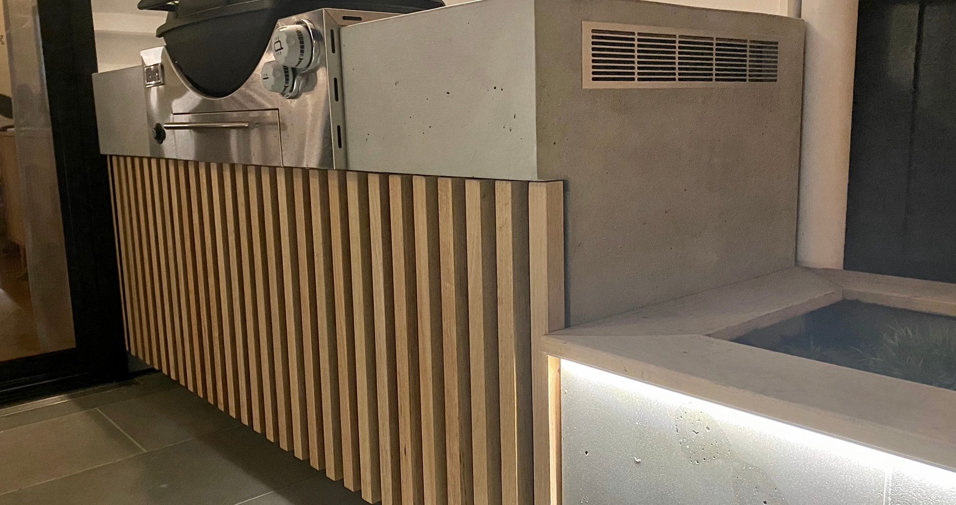 FORM Concrete Outdoor Kitchen with Timbe