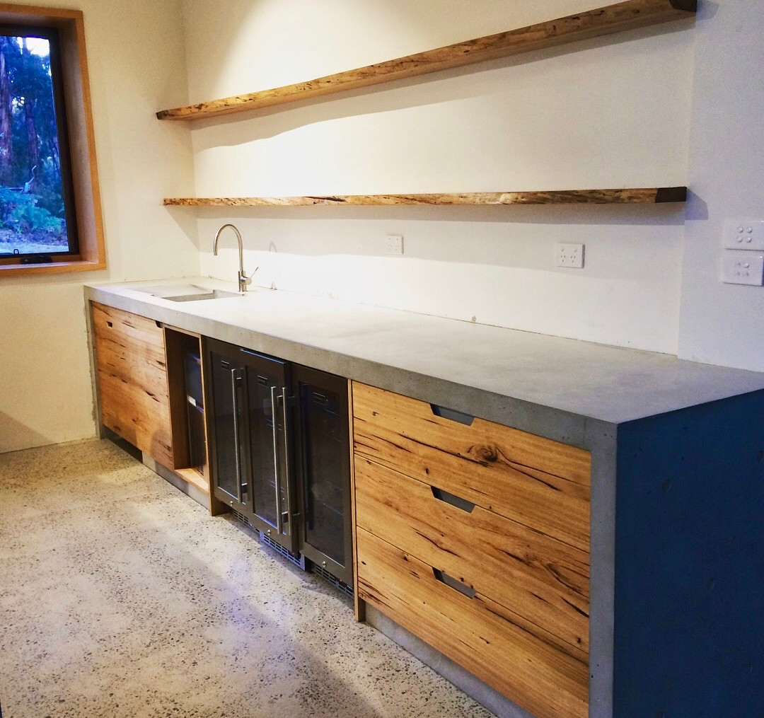 Concrete Kitchen Benchtop with Timber Shelves