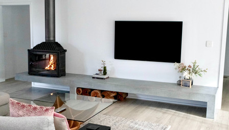 8. Concrete Fire Hearth with Floating Section and Matching Concrete Floor Tile - Mentone