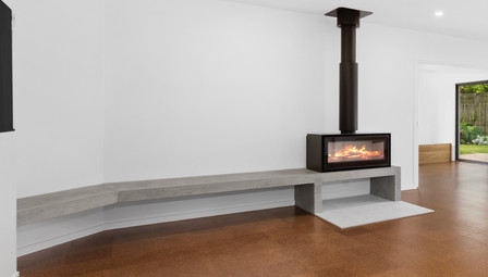 8. Concrete Fire Hearth with Floating Concrete Bench ADF Fireplace- Barwon Heads