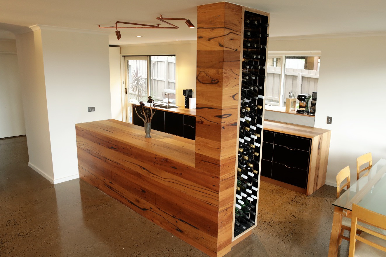 Timber Kitchen Benchtop with Built-in Wine Rack