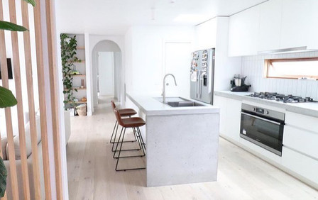 Light Grey Concrete Kitchen Design