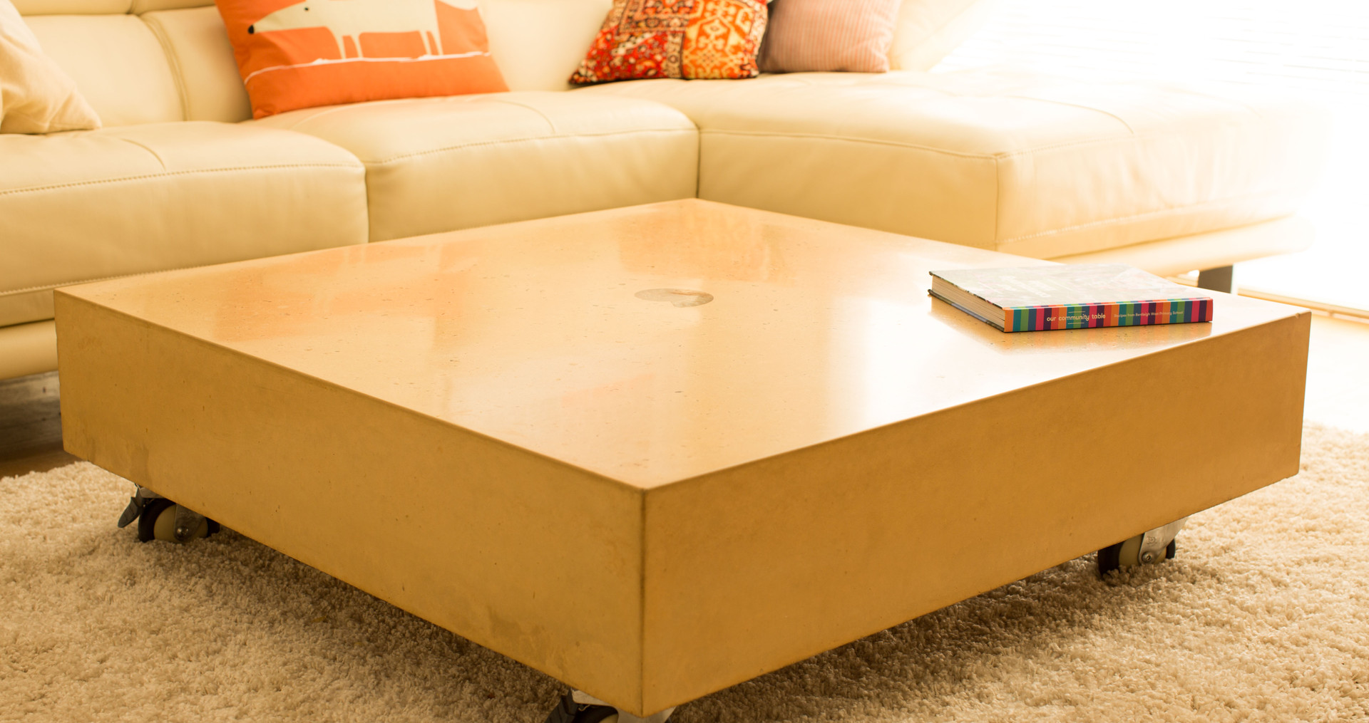 Sand Colour Concrete Coffee Table with Ammolite - Torquay