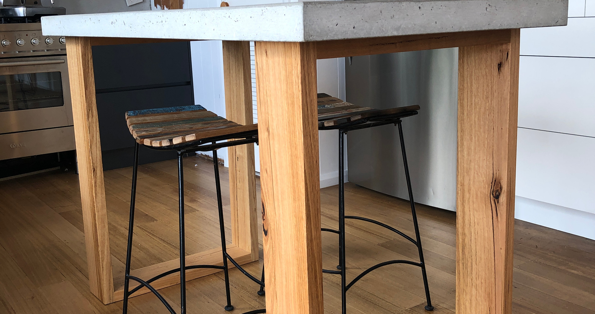 Concrete Island Table with Timber Legs