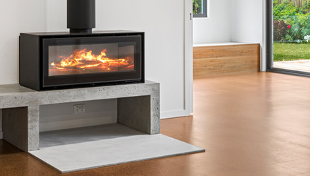 9. Concrete Fire Hearth with Floating Concrete Bench ADF Fireplace- Barwon Heads