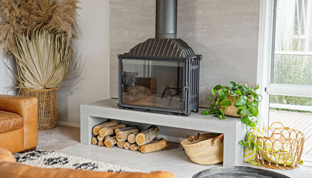 3. Concrete Fire Hearth Rendered Wall Cheminees Philippe - Lorne