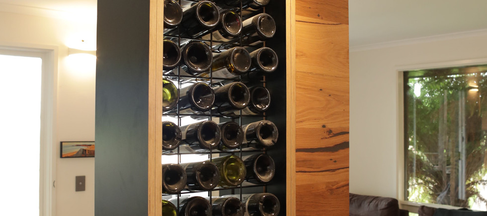 Timber Kitchen with Built-in Wine Rack