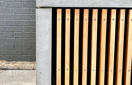 Concrete BBQ with Timber Battens Edge Detail