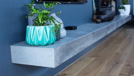 5. Floating Concrete Shelf Gas Fireplace - Melbourn
