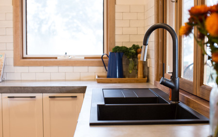 Concrete Benchtop in Remodeled Farm House Kitchen