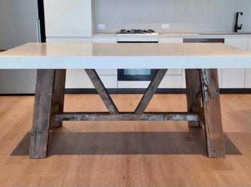 White Concrete Dining Table with Recycled Timber