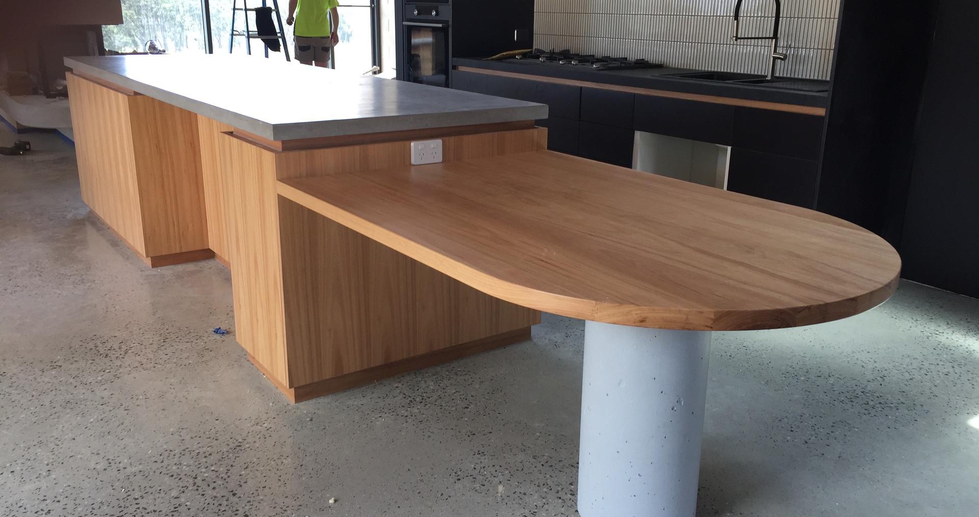 Concrete Kitchen Bench with Concrete Column