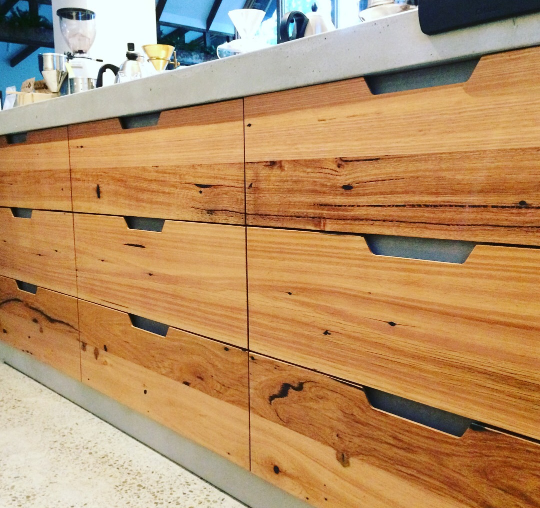 Recycled Timber Cabinetry with Concrete Details