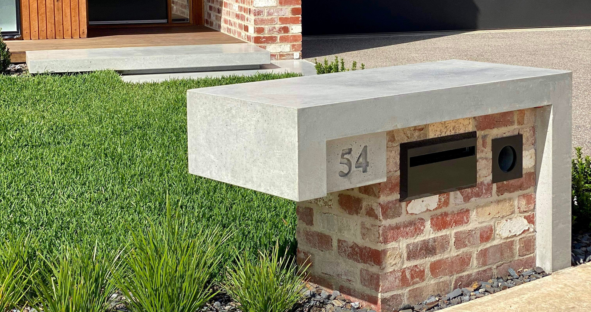 Concrete and Brick Letterbox and Concrete Front Steps