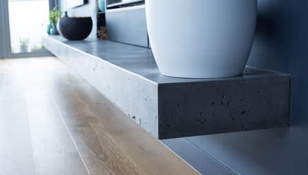 5. Floating Concrete Shelf Gas Fireplace - Melbourne