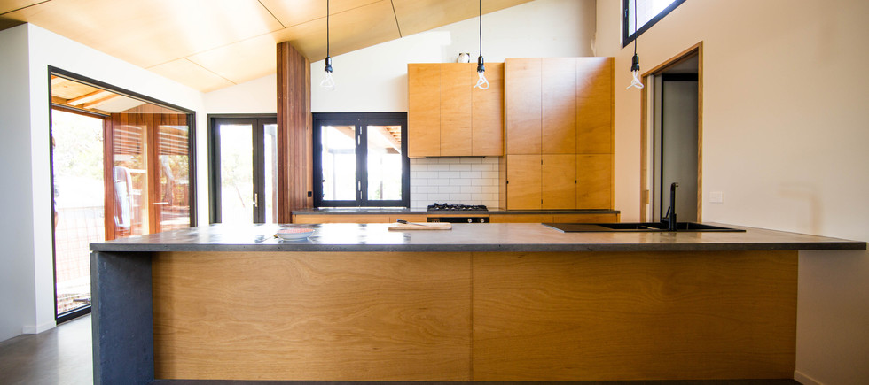 Concrete Kitchen and Plywood Cabinetry Design