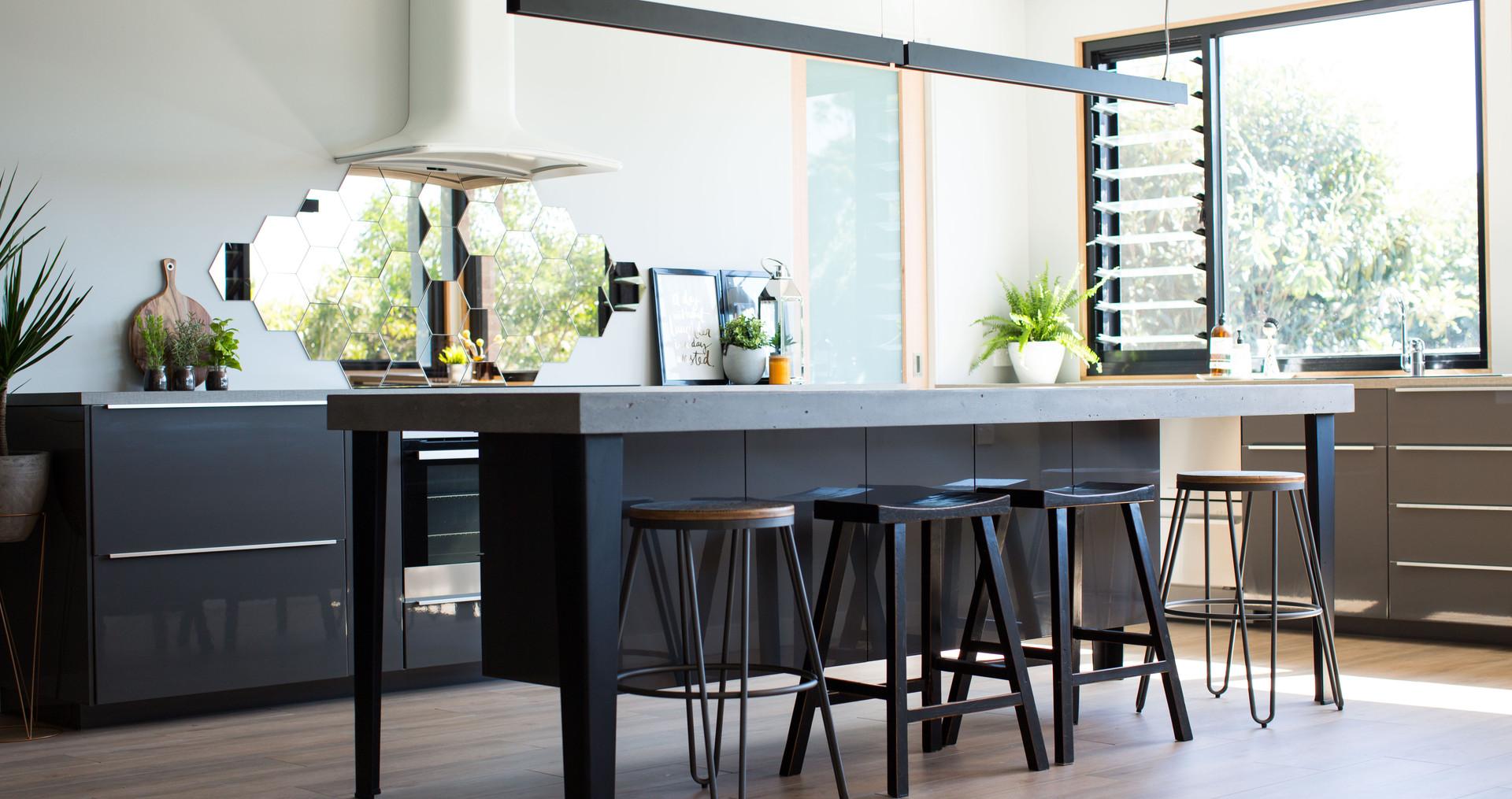 Concrete Kitchen Island with Steel Legs