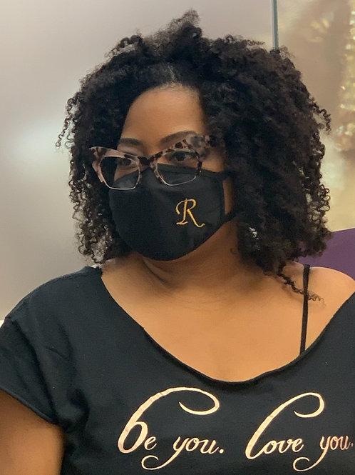Stretchy Black Monogrammed Mask