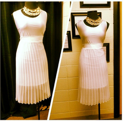 white body con dress with pleated chiffon skirt.png