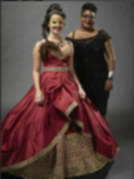 African American Fashion Designer Rosalyn Womack and one of her custom ballgowns for the Big Hair Ball