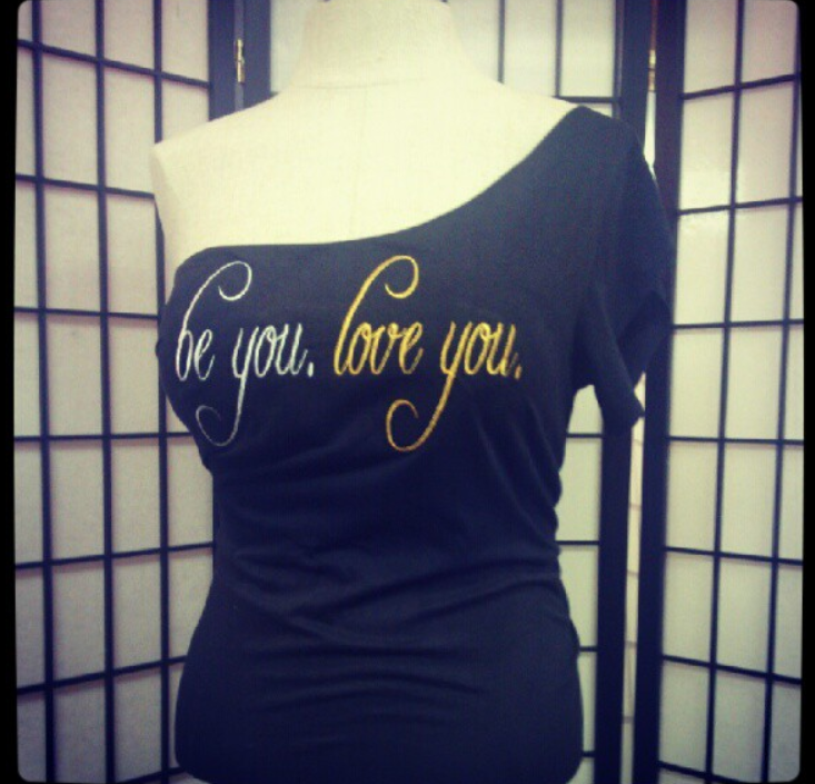one shoulder be you love you tee.png