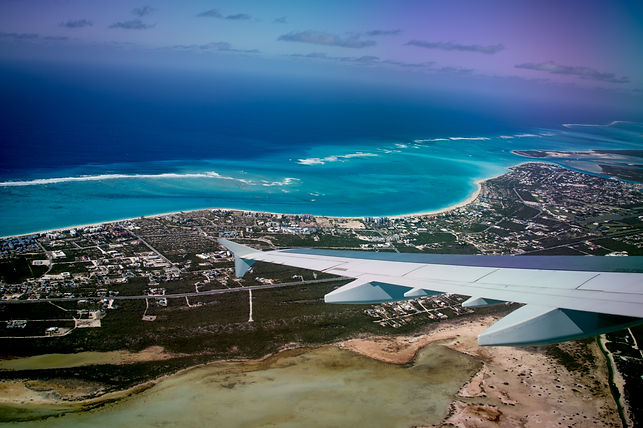 Aerial view of the Turks and Caicos Isla
