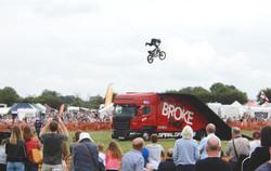 Broke motorcycle stunt team at Rempstone
