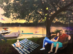 Sally Edwards. Herring Family Portrait, Evening on the Lake. acrylic. 30x40 in.. NFS.jpg