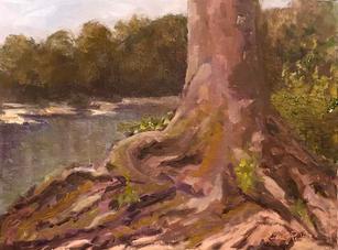 Linda Peters.  River_s Edge. oil.9x12 in. $400.jpg