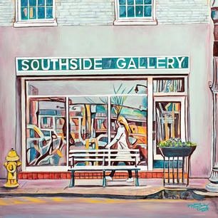 Melonie Counce. Window Shopping  (Oxford, MS). acrylic, oil pastel,oil pen, colored pencil