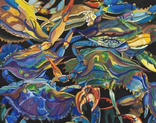 Janice Dean.  Mess of the Blues. gouache. 15x17 in.$800.jpg